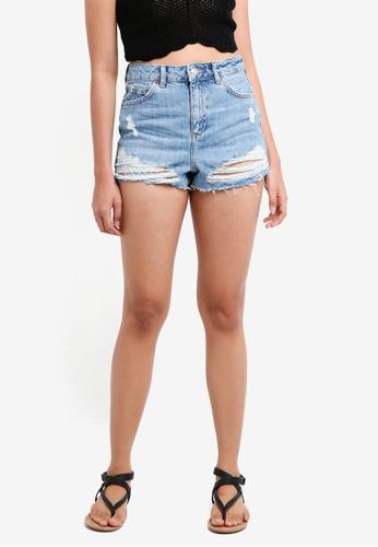 TOPSHOP blue Petite Mom Shorts 869A2AA2D1473CGS_1