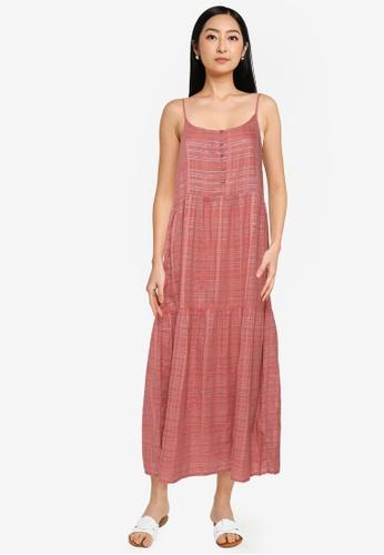 Springfield orange Long Pink Lurex Dress 8EB26AAE3DDCB6GS_1