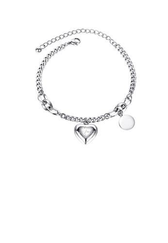 Glamorousky silver Fashion Romantic Heart-shaped 316L Stainless Steel Bracelet EAB90ACD4DC553GS_1