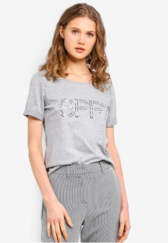 ESPRIT grey Brand Print Short Sleeve T-Shirt 4EFF9AAC53D4B6GS_1