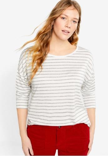 Violeta by MANGO grey Plus Size Striped Jersey T-Shirt BC686AA72E9E00GS_1
