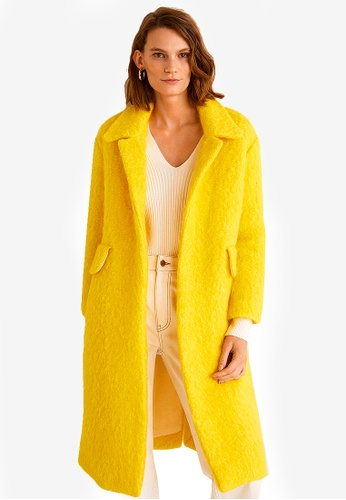 Mango yellow Unstructured Wool-blend Coat 81ED5AABC0C508GS_1