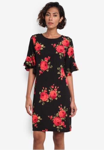 Dorothy Perkins black and multi Rose Print Ruffle Shift Dress DO816AA0RMYVMY_1