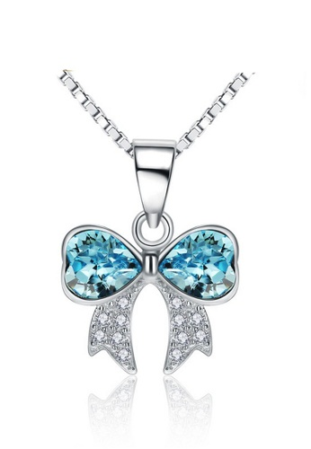 LYCKA blue and silver LPP88109 S925 Silver Necklace B0460AC3F0DFC2GS_1