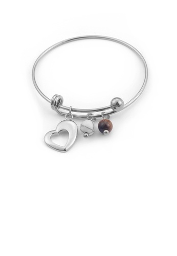 Glamorousky silver Fashion Simple Heart-shaped Round Bead 316L Stainless Steel Bangle 7AA0FACA688055GS_1
