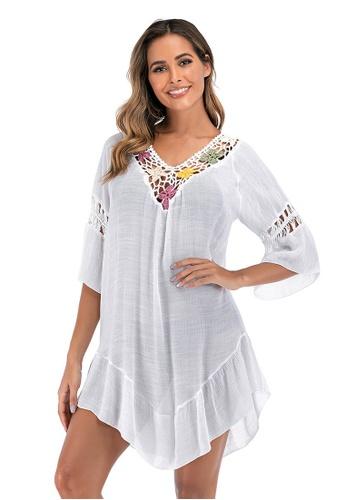 LYCKA white LTH4178-European Style Beach Casual Outer Dress-White 7566DUSAE6CEA0GS_1