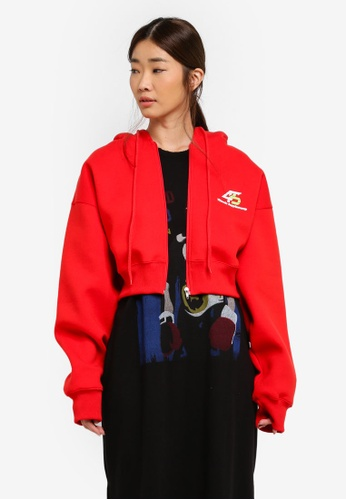 Stylenanda red Hooded Zip Front Jacket BCF40AA9596780GS_1
