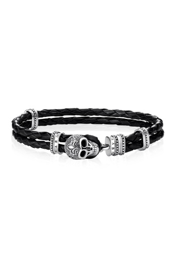 "Thomas Sabo black Leather Strap ""skull with lily"" TH376AC0GMTHSG_1"