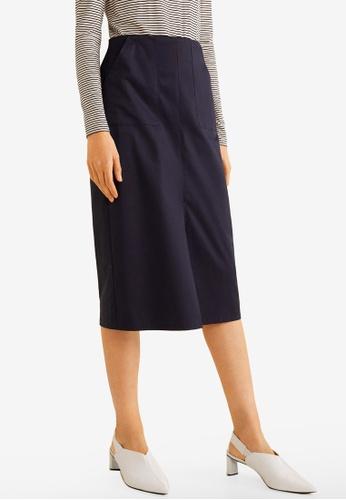 Mango blue and navy Elastic Waist Skirt 93CC4AACF13F51GS_1