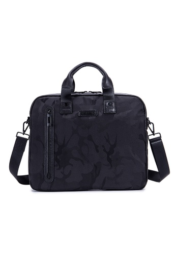 "ENZODESIGN black ENZODESIGN Camouflage Printed Nylon 15"" Laptop Briefcase 4A2FFAC61F5F02GS_1"