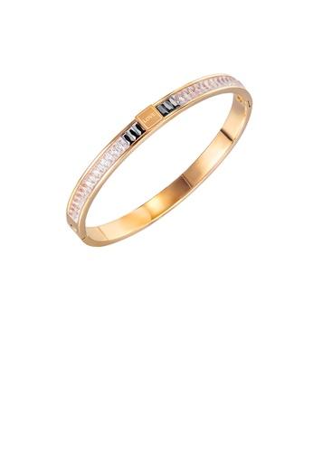 Glamorousky 白色 簡約氣質鍍玫瑰金幾何圓形鋯石316L鋼手鐲 EB5C2AC38FEA5CGS_1