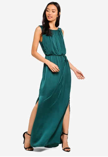 OVS green Long Sleeveless Dress With Pleating B1C0CAA4A87E47GS_1