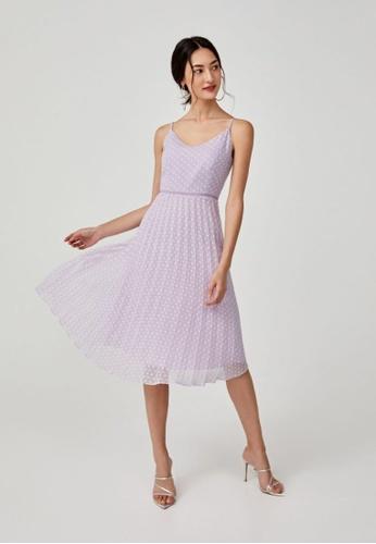Love, Bonito purple Hailey Pleated Dobby Dot Camisole Dress B0021AA4584CB3GS_1