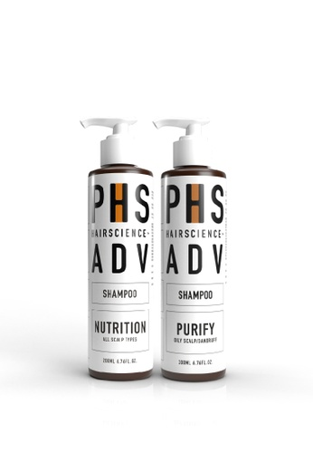 PHS HAIRSCIENCE PHS HAIRSCIENCE Signature Double Cleanse - ADV Nutrition Shampoo+ ADV Purify Correcting Shampoo [Eliminates Oily Scalp and Dandruff] 5C26FBE7CC4AB9GS_1
