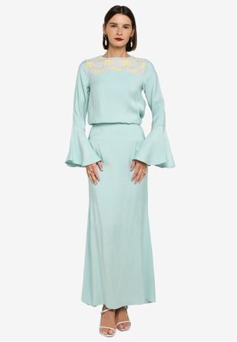 Zalia 藍色 Flare Sleeve Lace Shoulder Kurung 7892BAADD97FDAGS_1