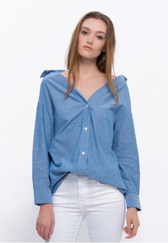 2c7c1bb8268 Buy Alpha Style Shane Off-Shoulder Shirt Online on ZALORA Singapore
