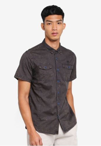 Fidelio grey Washed Double Pocket Short Sleeves Shirt C1BC0AA4582AA4GS_1