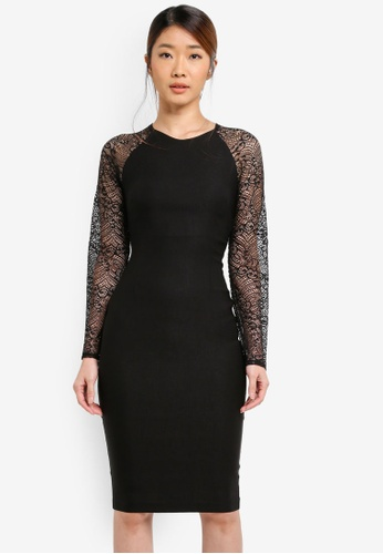 Vesper black Vesper Rhona Lace Sleeve Bodycon Dress AB801AA75049E6GS_1