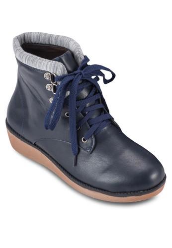 撞色靴口繫帶短靴, 女鞋, esprit 眼鏡鞋