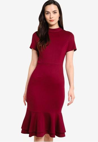 ZALORA WORK purple Short Sleeves Fluted Hem Dress C7D1AAA6737195GS_1