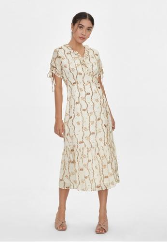 Pomelo beige Midi Floral Surplice Dress - Cream 0FC41AAA2A3326GS_1