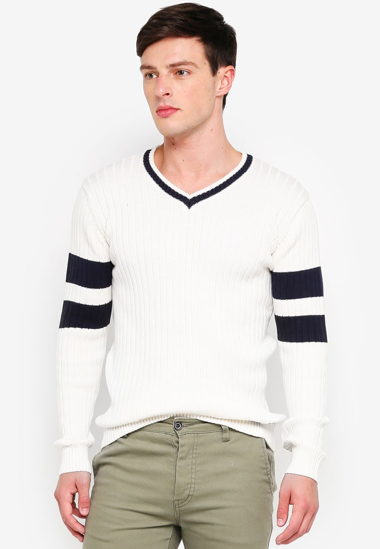 Indicode Varsity Offwhite Knitted Sweater Adame Jeans a47SwxtqT