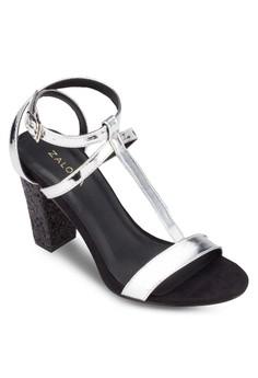 T-Strap Heel Sandals With Glitter Heels