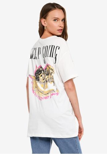 Trendyol white Keep Going Boyfriend T-Shirt B12FAAA2569A66GS_1