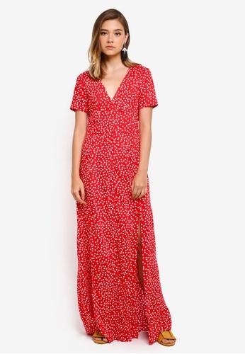 Miss Selfridge red and multi Red Polka Dot Maxi Dress 61C6FAA94D8464GS_1