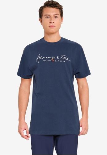 Abercrombie & Fitch navy Logocon Script Tee 3B661AA0ACB1D6GS_1