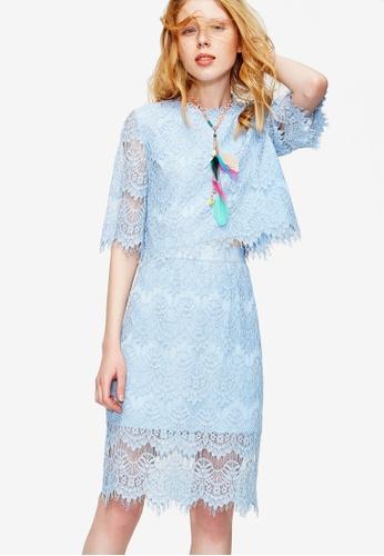 Hopeshow blue 2 Piece Slim-Fit Lace Dress F39A6AAC560C77GS_1