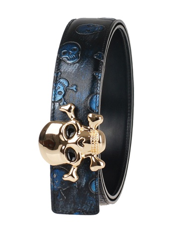 FANYU black Men Leather Belt Skeleton Grain Black FA549AC24PUTSG_1