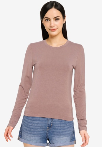 Abercrombie & Fitch brown Slim Stretch Knit Crew Top 876B8AA17ABB22GS_1