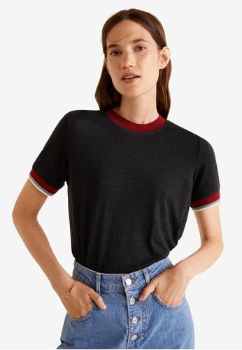 Mango grey Contrast Edge T-Shirt 4BBB4AA677776BGS_1