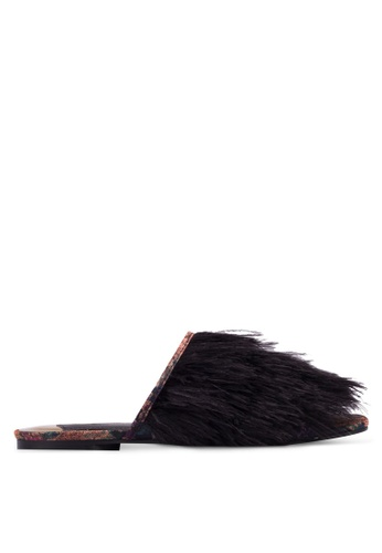 River Island black Feather Sliders RI009SH0RUAPMY_1