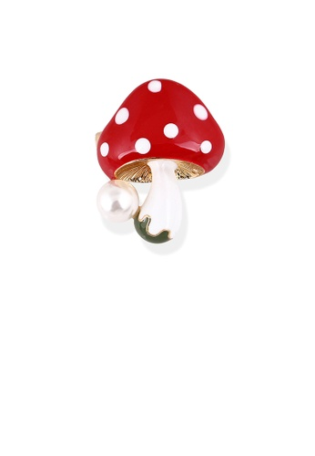 Glamorousky white Fashion and Simple Plated Gold Red Mushroom Brooch with Imitation Pearls 420C4AC714FF69GS_1
