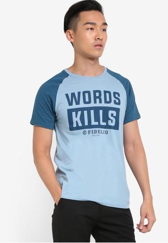 Fidelio blue Words Kills Printed Contrast Sleeves Tee FI826AA81NUOMY_1
