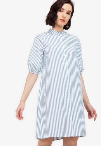 ZALORA WORK multi Puff Sleeves A Line Dress E557DAA178C045GS_1