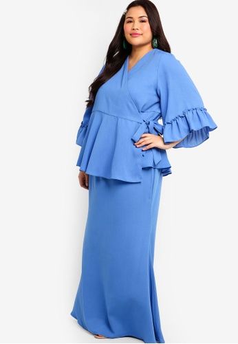 Ruffles Sleeves Wrap Kurung Set from Lubna in Blue