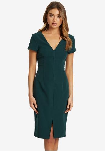 REUX green Charlotte V Neck Dress 2A762AA91F4048GS_1