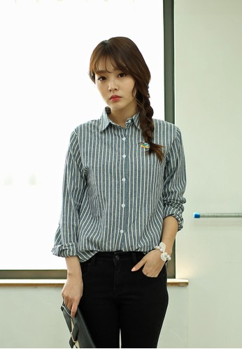 Tansy 條紋長袖襯衫, 服飾esprit 特賣, 上衣