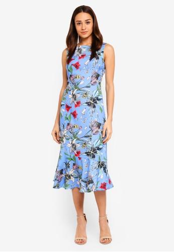 bYSI blue Botanical Frill Hem Dress 42AF1AAB894C5BGS_1