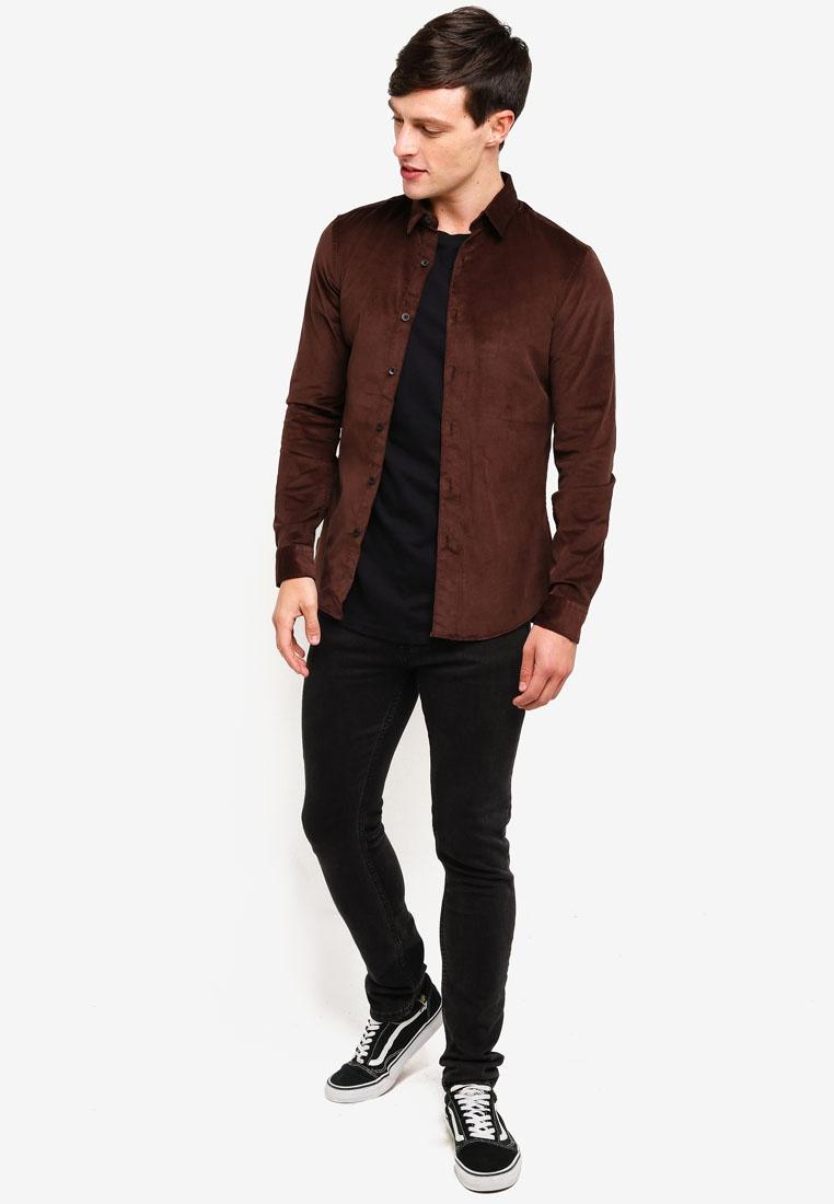 Corduroy Topman Long Fit Shirt Brown Brown Sleeve Muscle ZvnfnYx