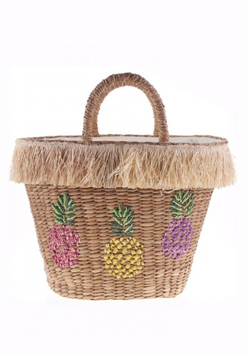 Style Cat brown Style Cat Morocco Pineapple Woven Basket 6F855AC64ED537GS_1