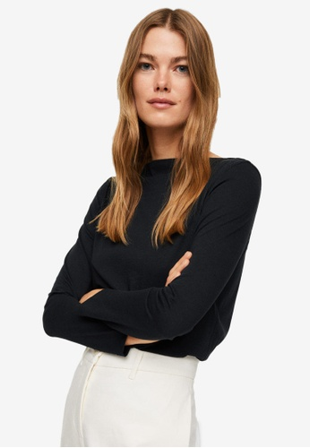 Mango black Long Sleeves Cotton T-Shirt 825F7AAD00AC34GS_1