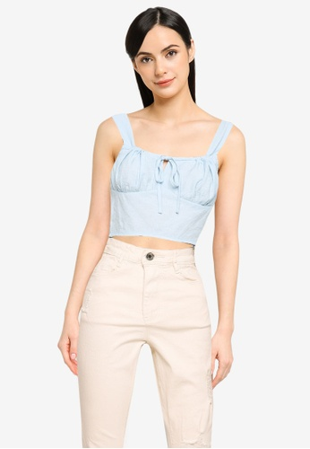 MISSGUIDED blue Tie Neck Gathered Cup Crop Top C1F83AAFD15045GS_1