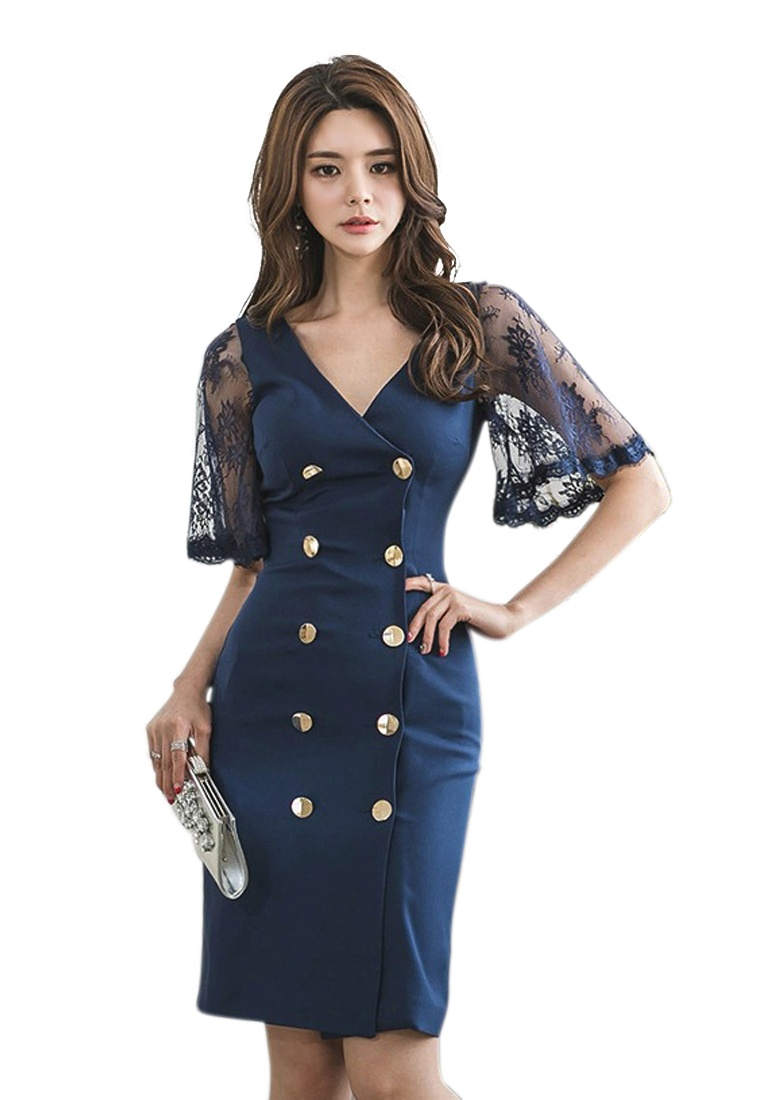 Sunnydaysweety Neck Piece 2018 CA062927BL Dress One Double Blue New V Breasted Blue qav4fUw