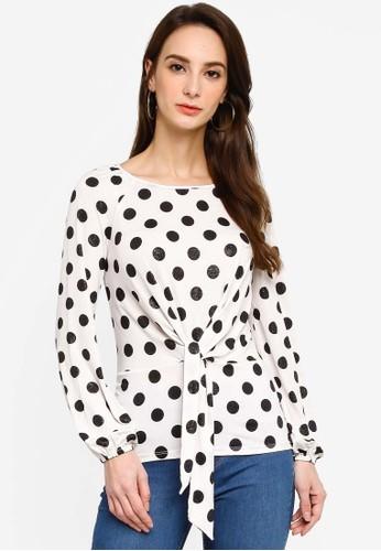 Dorothy Perkins white Black Spot Tie Long Sleeve Top 7114DAA6BA0E82GS_1