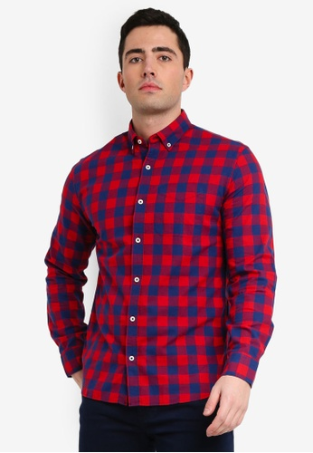 Mango Man 紅色 Regular-Fit 格紋襯衫 3B019AA4DD9087GS_1