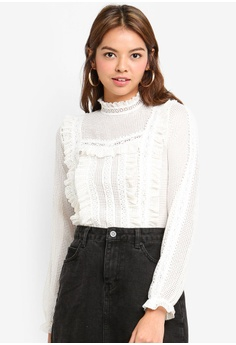 Miss Selfridge white White Long Sleeve Lace Victoriana Top  D4C27AAADF7FE8GS 1 46b609897